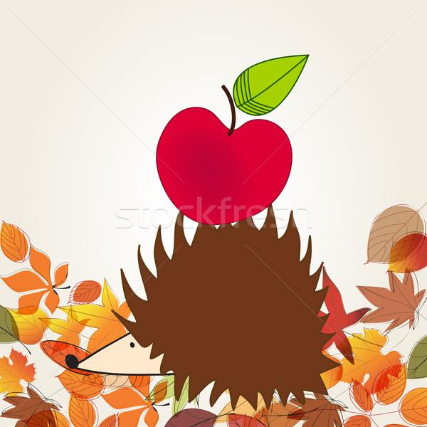 Cute еж яблоко вектора рисованной стиль Сток-фото © glyph