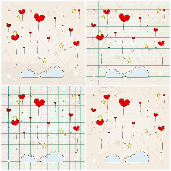Stock photo: Cute heartshaped balloons illustrations