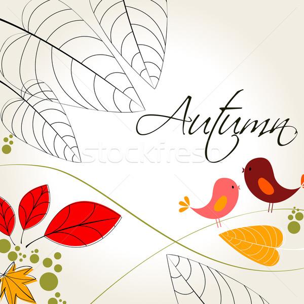 Aranyos ősz illusztráció vektor absztrakt levél Stock fotó © glyph