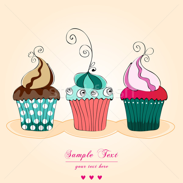 Cute retro cupcakes card Stock photo © glyph