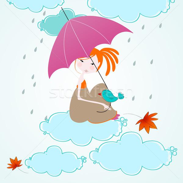 Сток-фото: Cute · осень · иллюстрация · вектора · девушки · женщину