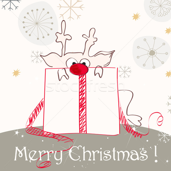 Cute Christmas greeting card with red nosed reindeer Stock photo © glyph