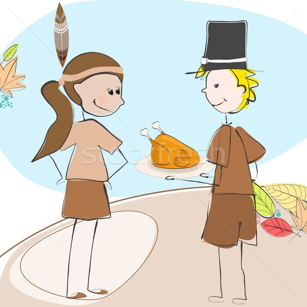 Cute Thanksgiving kids illustration Stock photo © glyph