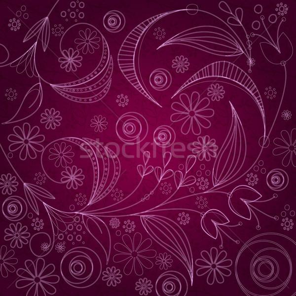 Klasszikus virágmintás vektor aranyos kézzel rajzolt stílus Stock fotó © glyph