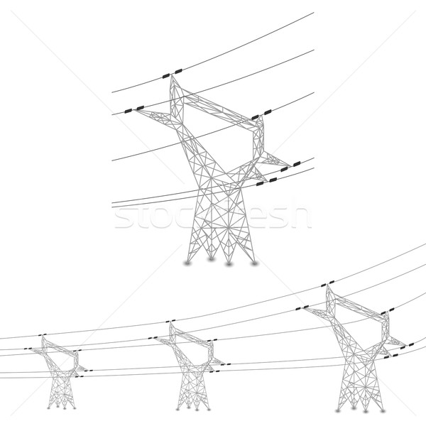 Set Of Power Lines And Electric Pylons Vector Illustration Glyph