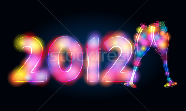 New Year's illustration made of light Stock photo © glyph