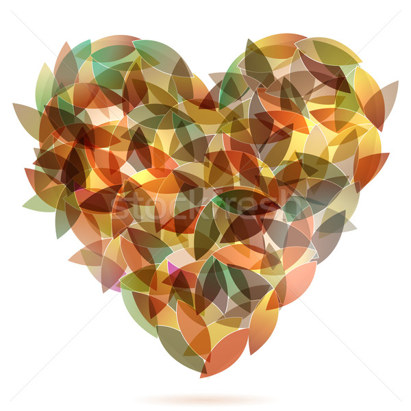 Colorful heart from autumn leaves illustration Stock photo © glyph
