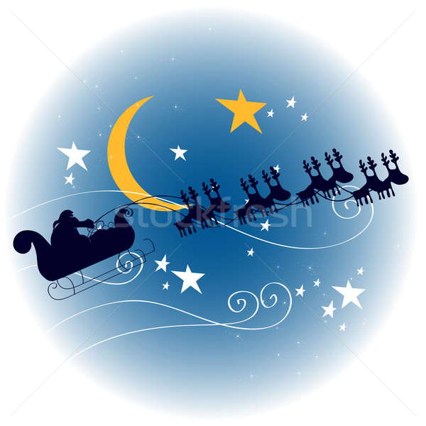 Santa's sleigh flying in front of a full Moon Stock photo © glyph