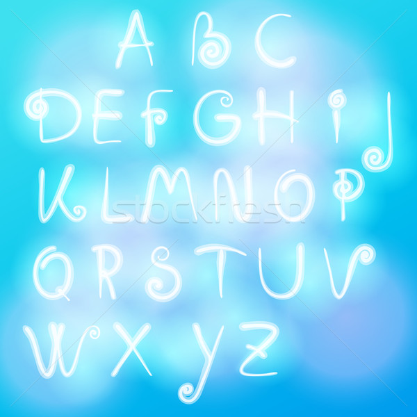 Alphabet made of clouds Stock photo © glyph