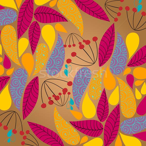Aranyos ősz illusztráció vektor színes kézzel rajzolt Stock fotó © glyph