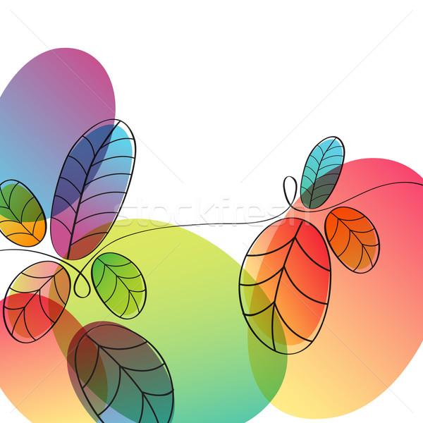 Cute hojas de otoño ilustración vector colorido dibujado a mano Foto stock © glyph
