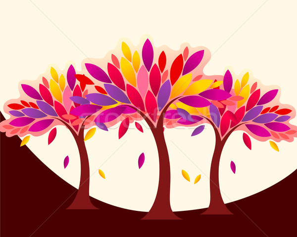 Cute colorful autumn forest illustration Stock photo © glyph