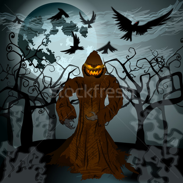 Halloween illustration with Jack O'Lantern, full Moon and crows Stock photo © glyph