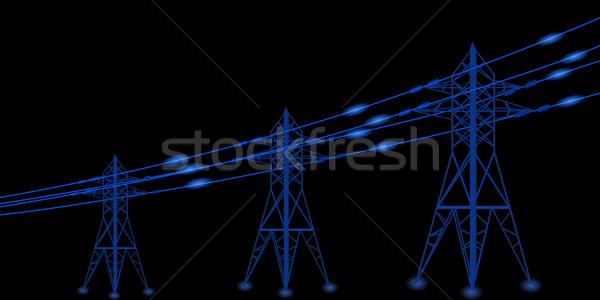Sziluett távvezeték elektromos vektor építkezés hálózat Stock fotó © glyph