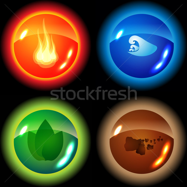 Set of the four elements Stock photo © glyph