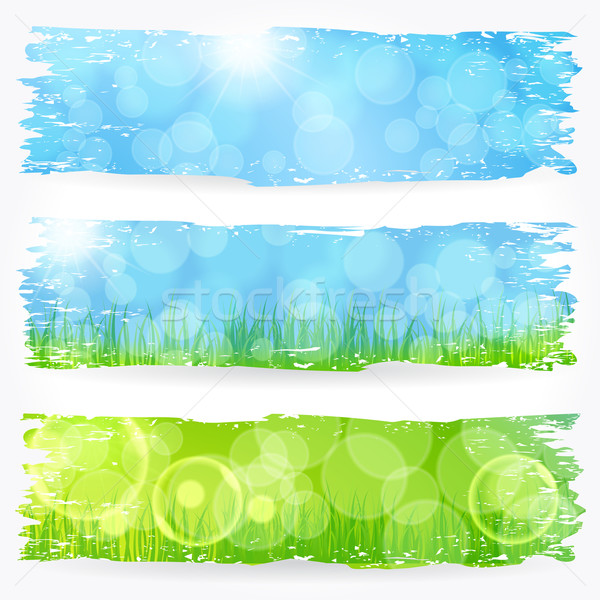 Stock photo: Beautiful soft bokeh painted nature banner set