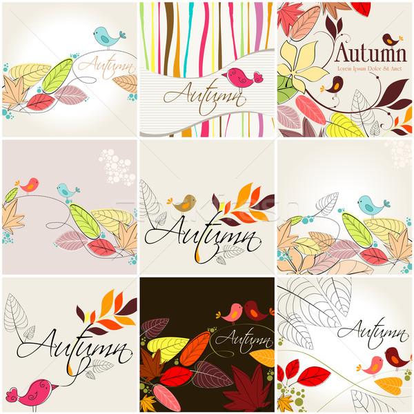 Set of cute autumn illustrations Stock photo © glyph