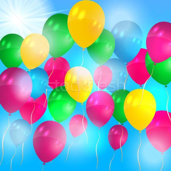 Ballonnen vliegen lucht mooie hemel verjaardag Stockfoto © glyph