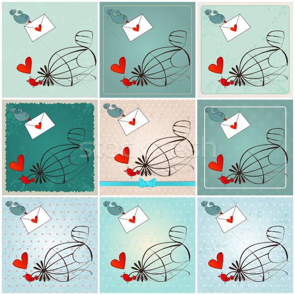 Foto d'archivio: Cute · uccelli · amore · illustrazioni · vettore · set