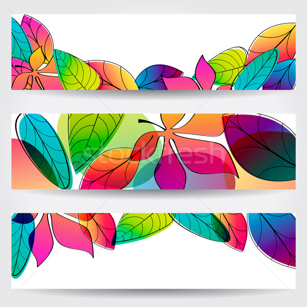 Stock photo: Colorful autumn leaves banners