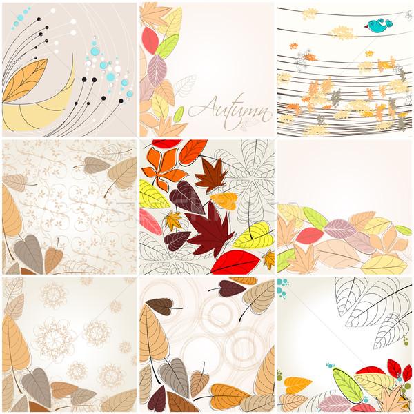 Szett aranyos ősz illusztrációk vektor kézzel rajzolt Stock fotó © glyph