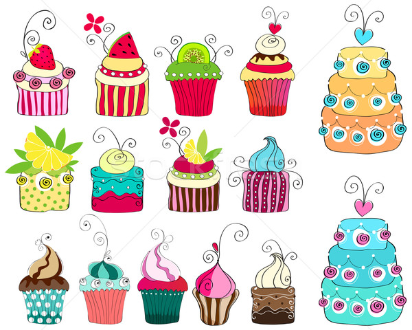 Set of cute retro cupcakes Stock photo © glyph