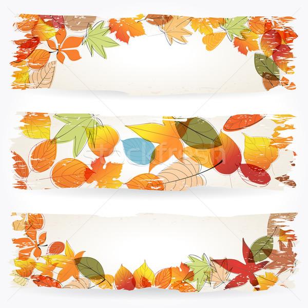Renkli sonbahar yaprakları afişler vektör ayarlamak Stok fotoğraf © glyph