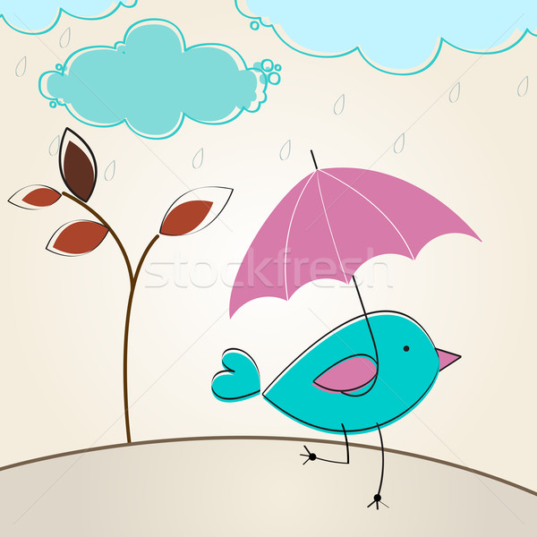 Stockfoto: Cute · najaar · vogel · paraplu · illustratie · vector