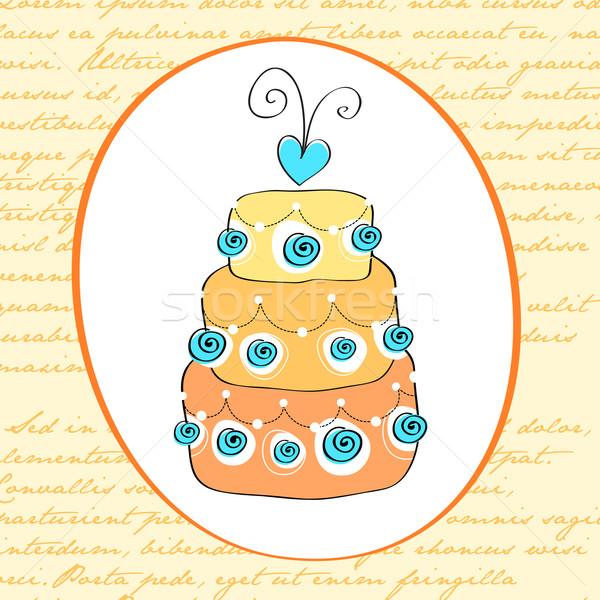 Aranyos retro esküvői torta kártya vektor illusztráció Stock fotó © glyph