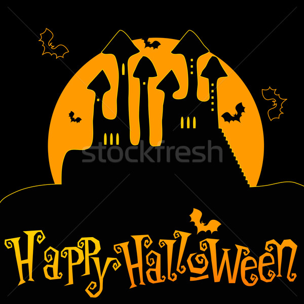 Cute Halloween haunted castle illustration Stock photo © glyph