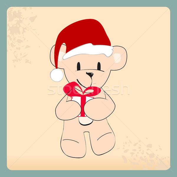 Cute hand drawn style Christmas teddy bear Stock photo © glyph