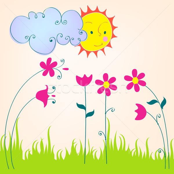 Cute primavera prato illustrazione vettore Foto d'archivio © glyph