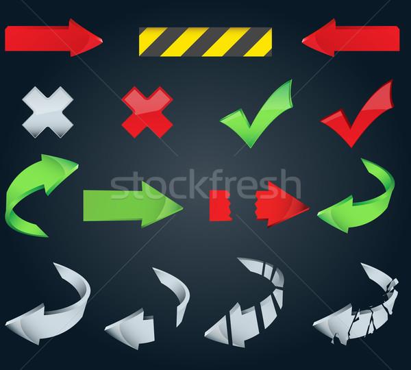 большой набор стрелка иконки вектора различный Сток-фото © glyph