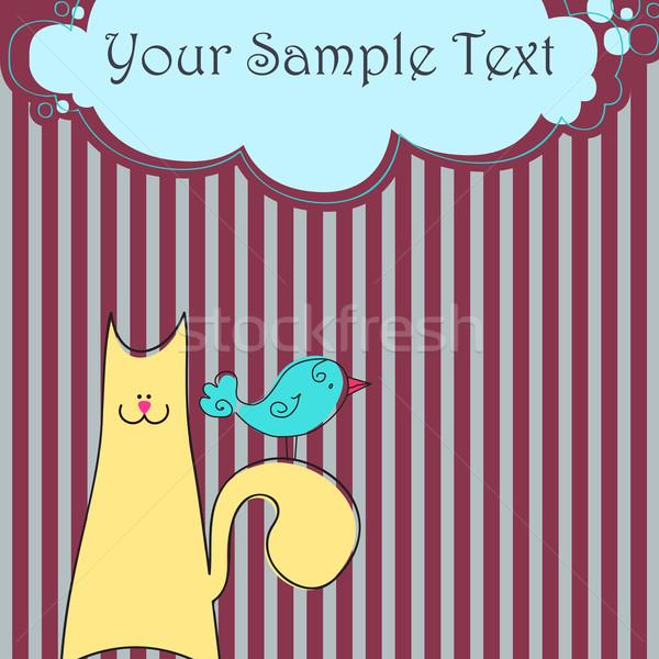 Aranyos macska madár vektor csíkos absztrakt Stock fotó © glyph