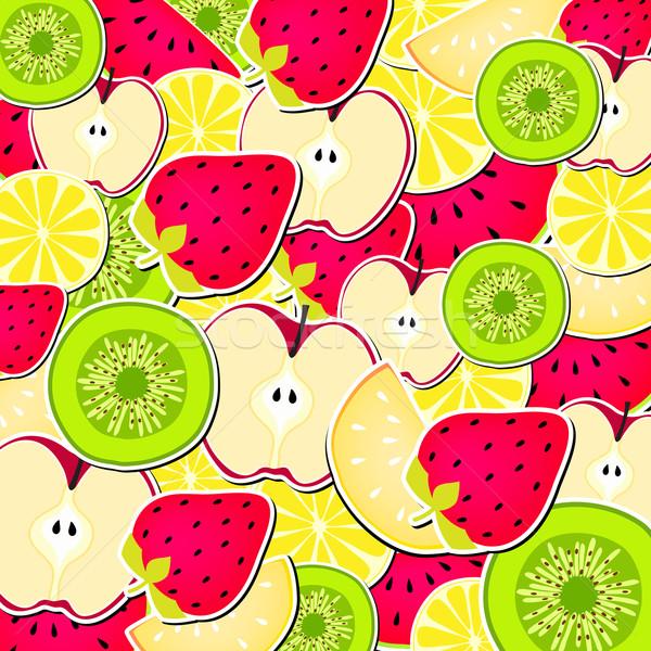 Foto stock: Bonitinho · adesivos · frutas · arte · verde