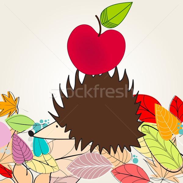 Sevimli sonbahar örnek kirpi elma vektör Stok fotoğraf © glyph