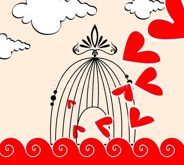 Romántica ilustración corazones vuelo fuera jaula Foto stock © glyph