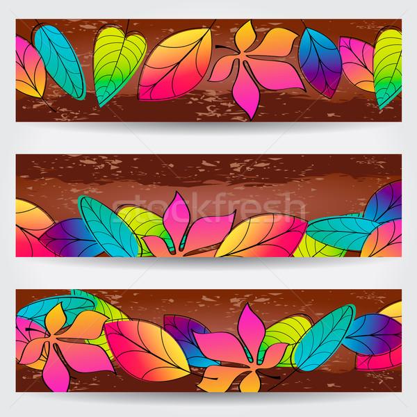 カラフル 紅葉 バナー ベクトル セット 手描き ストックフォト © glyph
