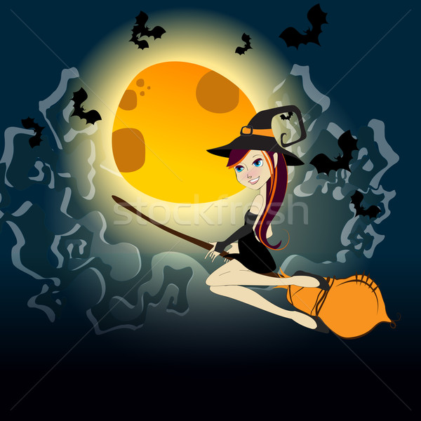 Cute Halloween witch flying in front of a full Moon Stock photo © glyph