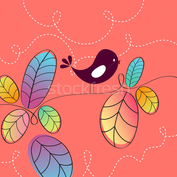 Aranyos ősz madár illusztráció vektor kézzel rajzolt Stock fotó © glyph