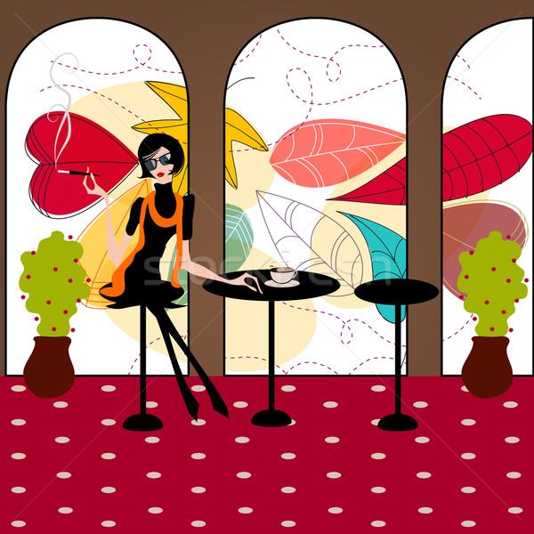 Stock fotó: Elegáns · divat · lány · kávézó · kézzel · rajzolt · stílus