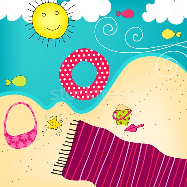Cute summer seashore Stock photo © glyph