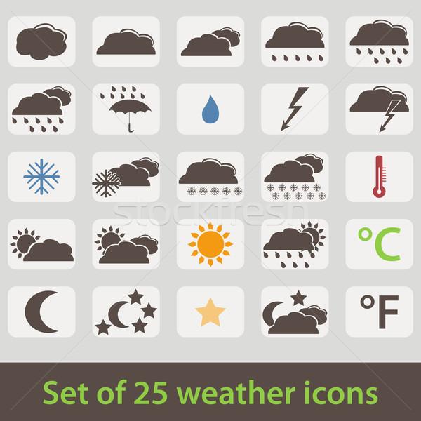 Nagy szett retró stílus időjárás ikonok vektor Stock fotó © glyph