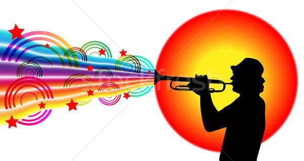 Jazz músico jogar trombeta vetor colorido Foto stock © glyph