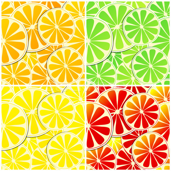 Set of four seamless citrus fruit background Stock photo © glyph