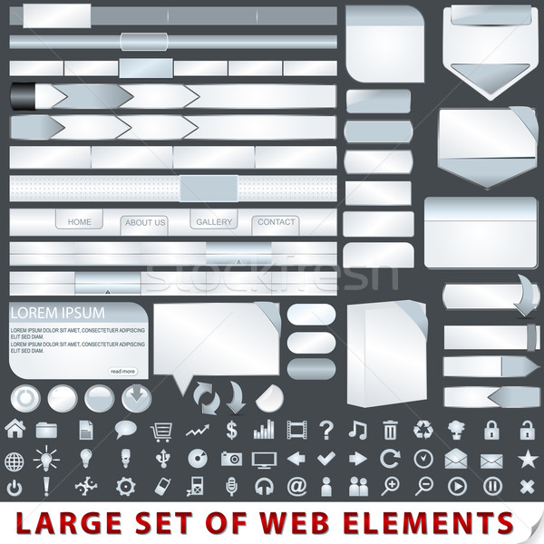 Large set of web design elements Stock photo © glyph