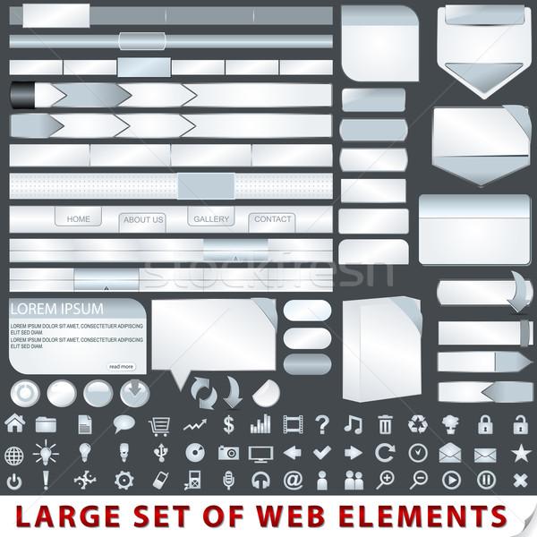Nagy szett web design elemek vektor számítógép Stock fotó © glyph