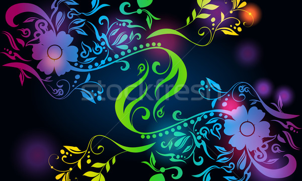 Gyönyörű virágmintás vektor színes izzó illusztráció Stock fotó © glyph