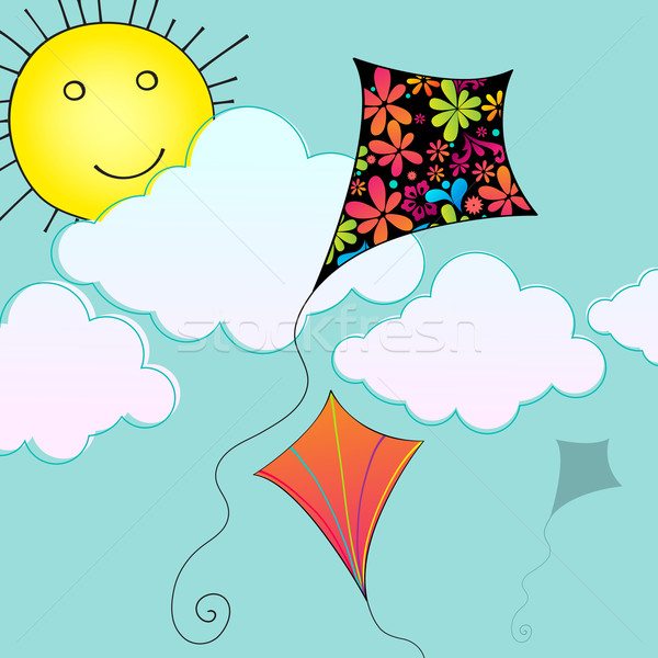 Cute hot air balloon flying in the sky Stock photo © glyph