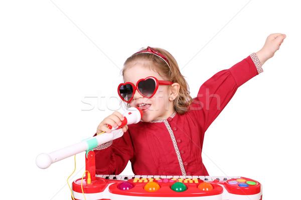 Meisje zingen muziek kind schoonheid microfoon Stockfoto © goce